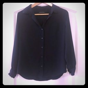 Banana republic navy sheer blouse